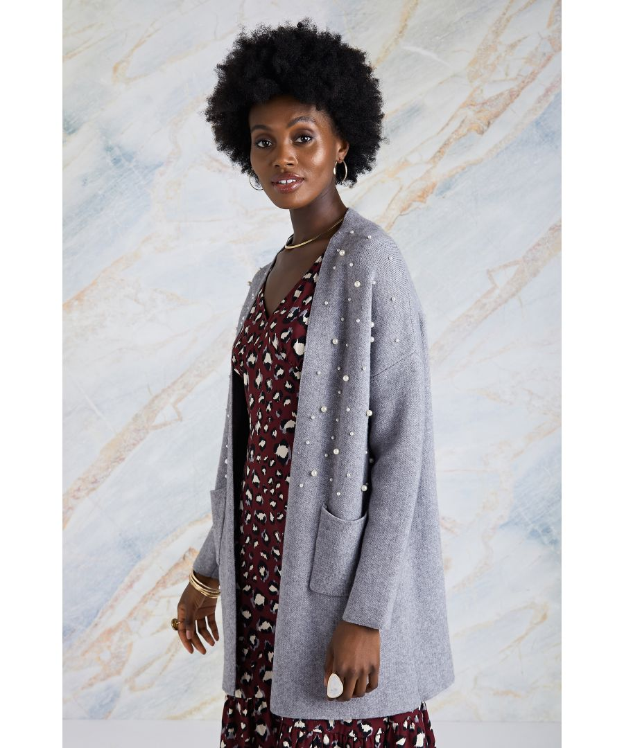 Image for Pearl Applique Knit Long Cardigan