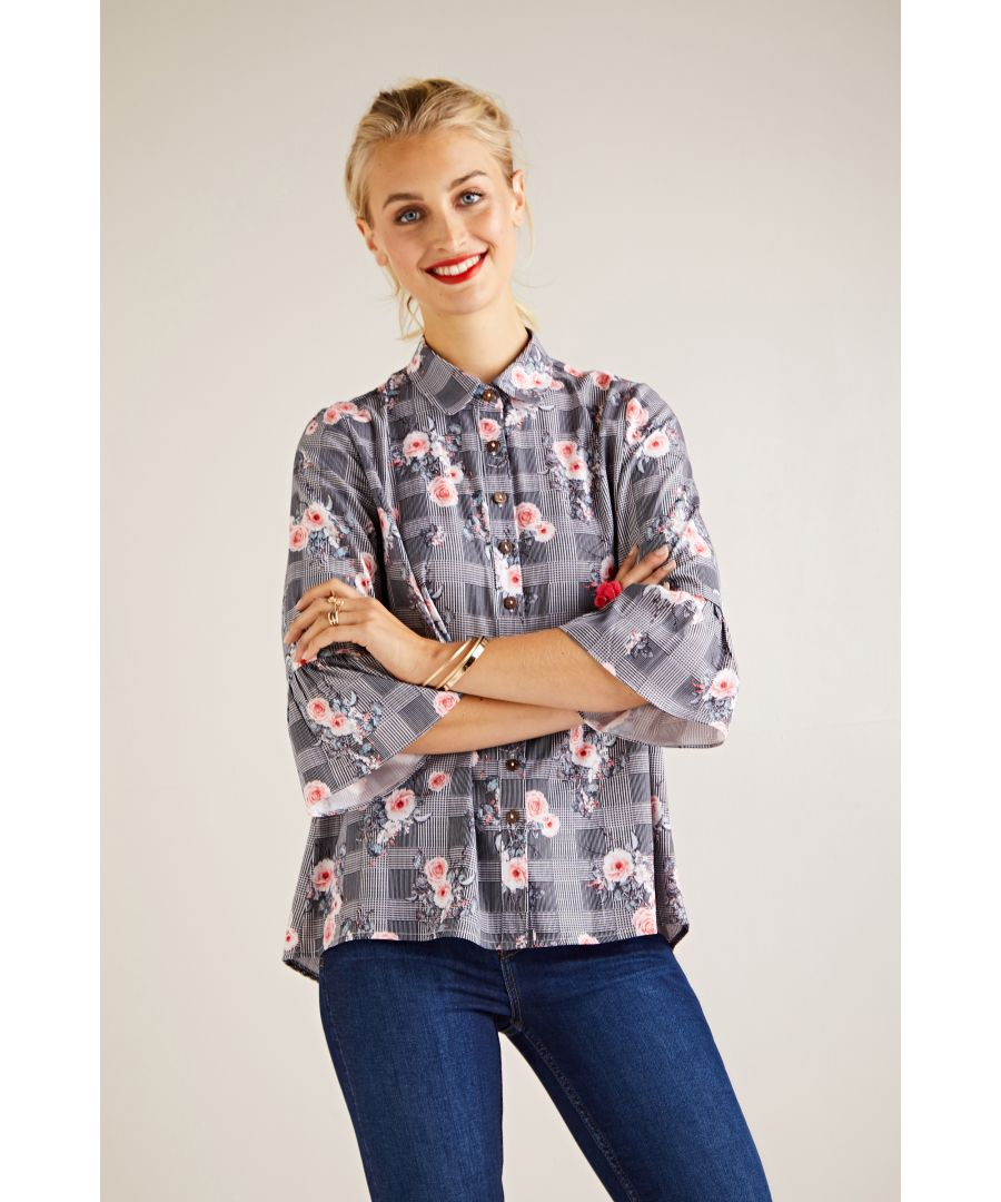 Image for Check And Flower Blouse With Frill Sleev