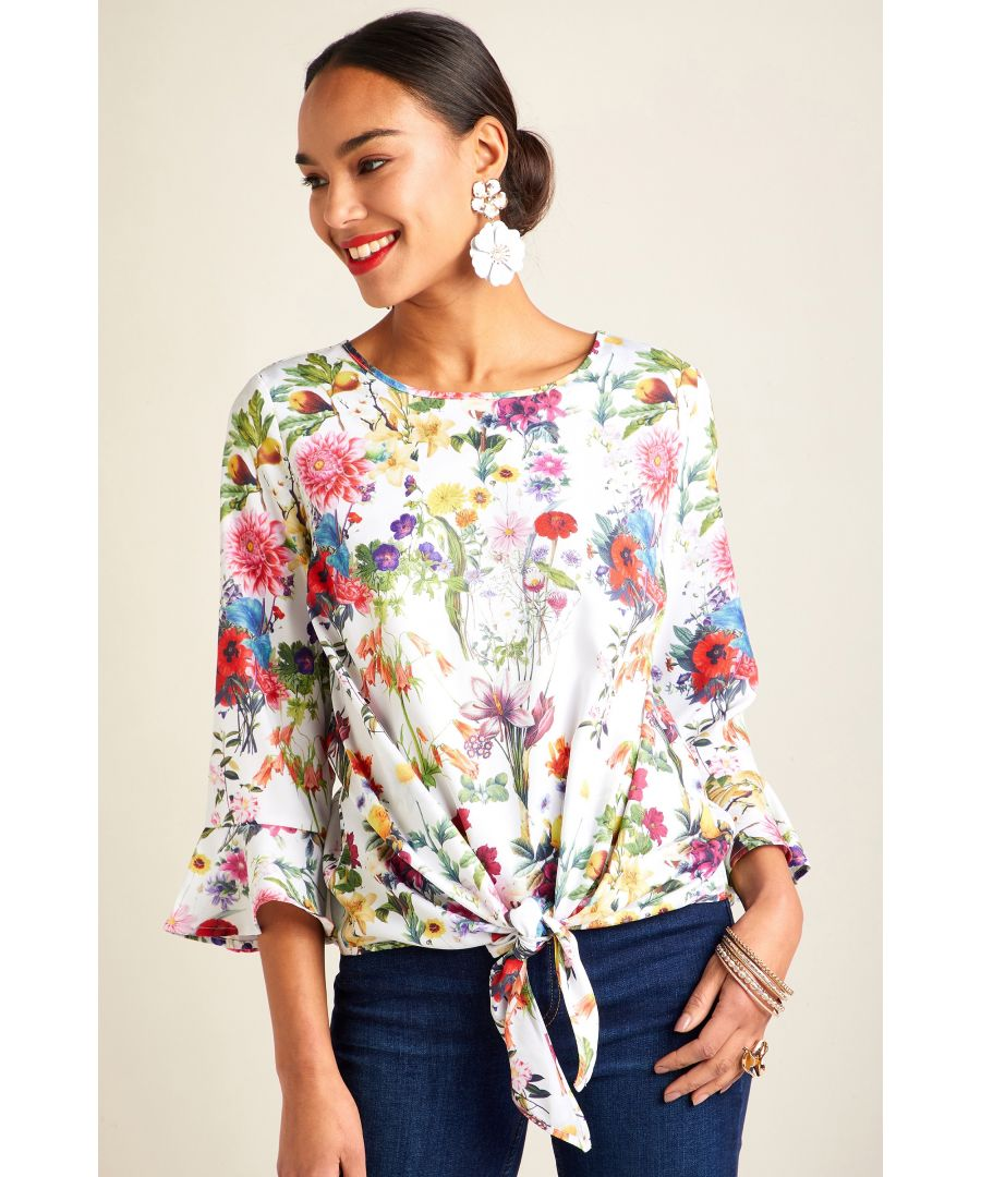Image for Botanical Print Tie Knot Top