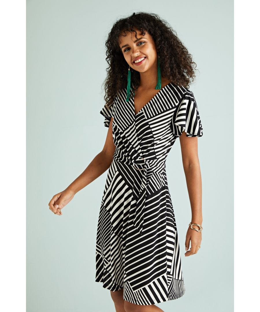 Image for Patchwork Stripe Jersey Dress With Buckl