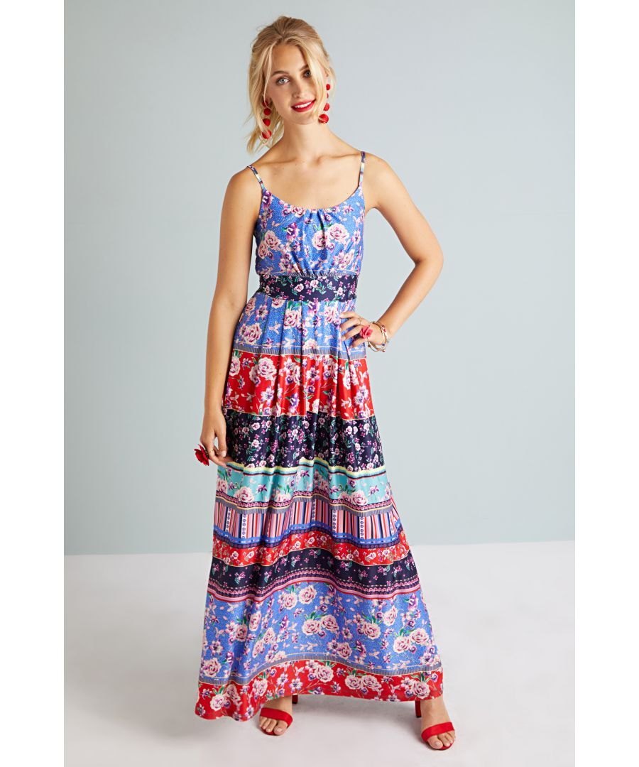 Image for Patchwork Stripe Jersey Maxi Dress