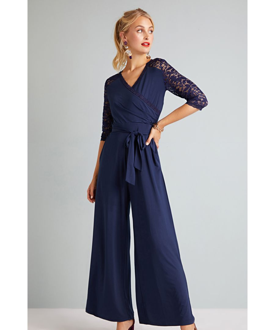Image for Lace And Jersey Jumpsuit