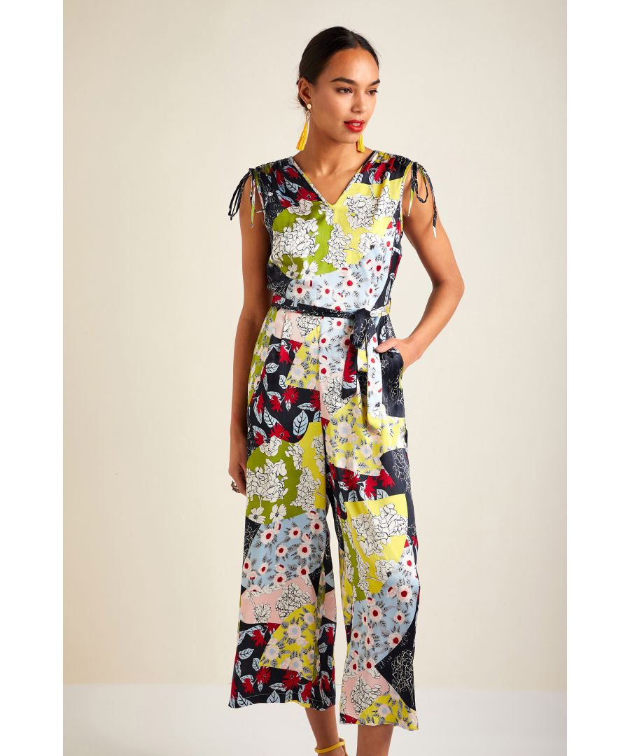 Image for Patchwork Print Jumpsuit With Ruched Sho
