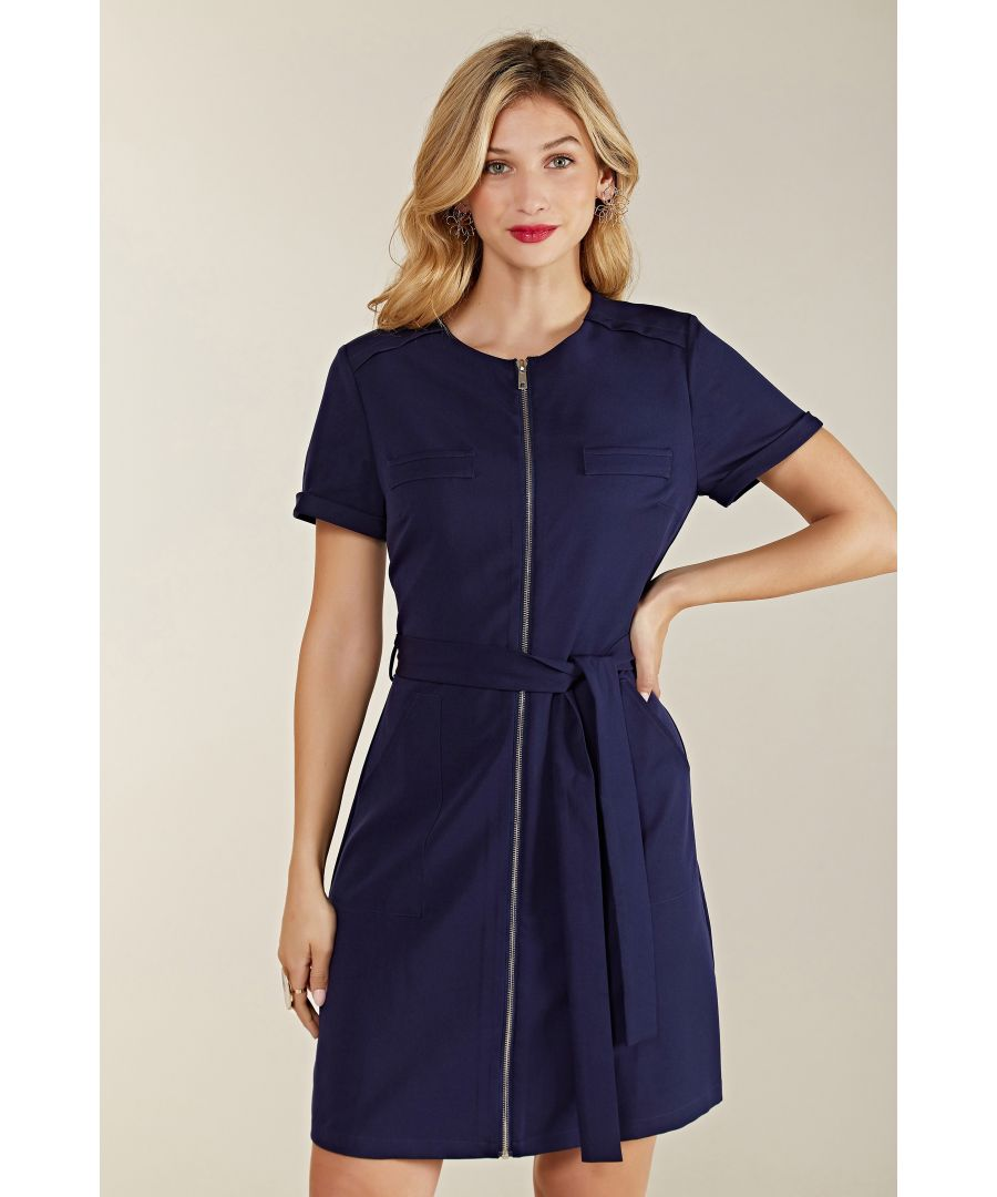 Image for Zipper Shirt Dress With Pocket Detail