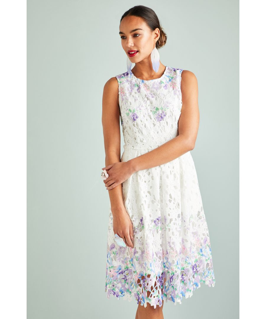 Image for Flower Mirror Print Lace Dress