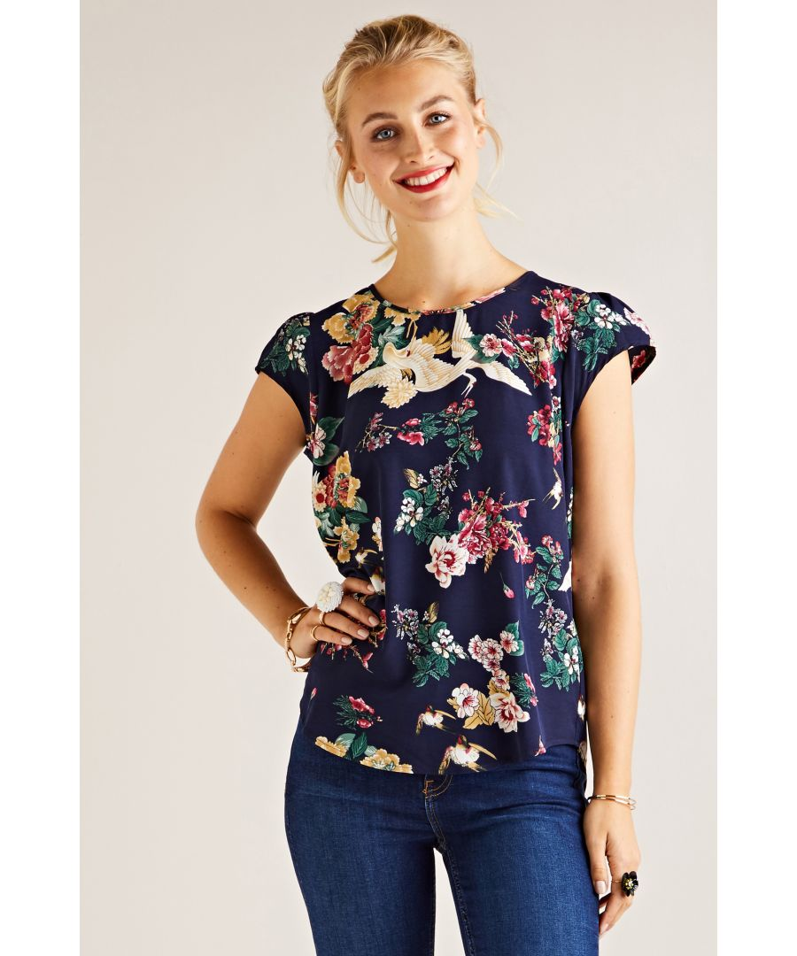 Image for Crane Print Top With Lace Back Insert De