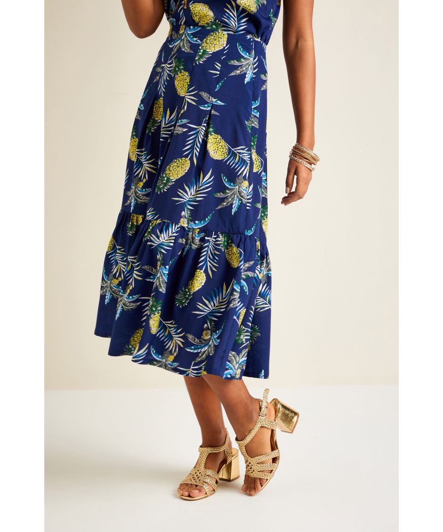 Image for Pineapple Print Frill Skirt