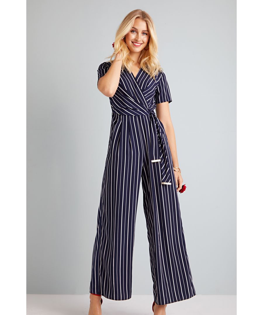 Image for Stripe Wrap Jumpsuit With Tie Detail