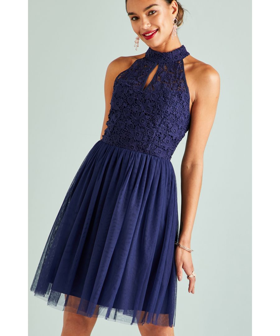Image for Navy Lace Mesh Party Dress