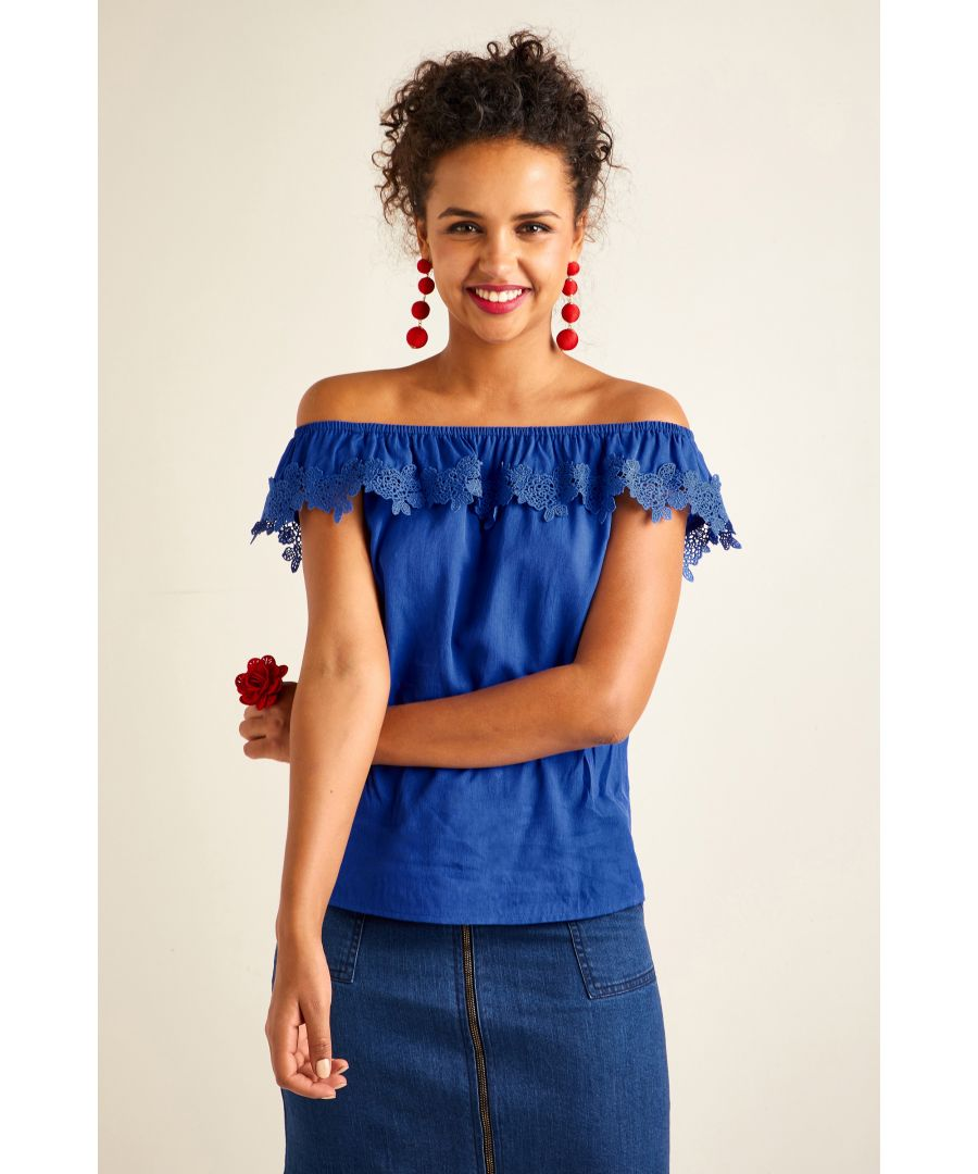 Image for Flower Lace Trim Bardot Top