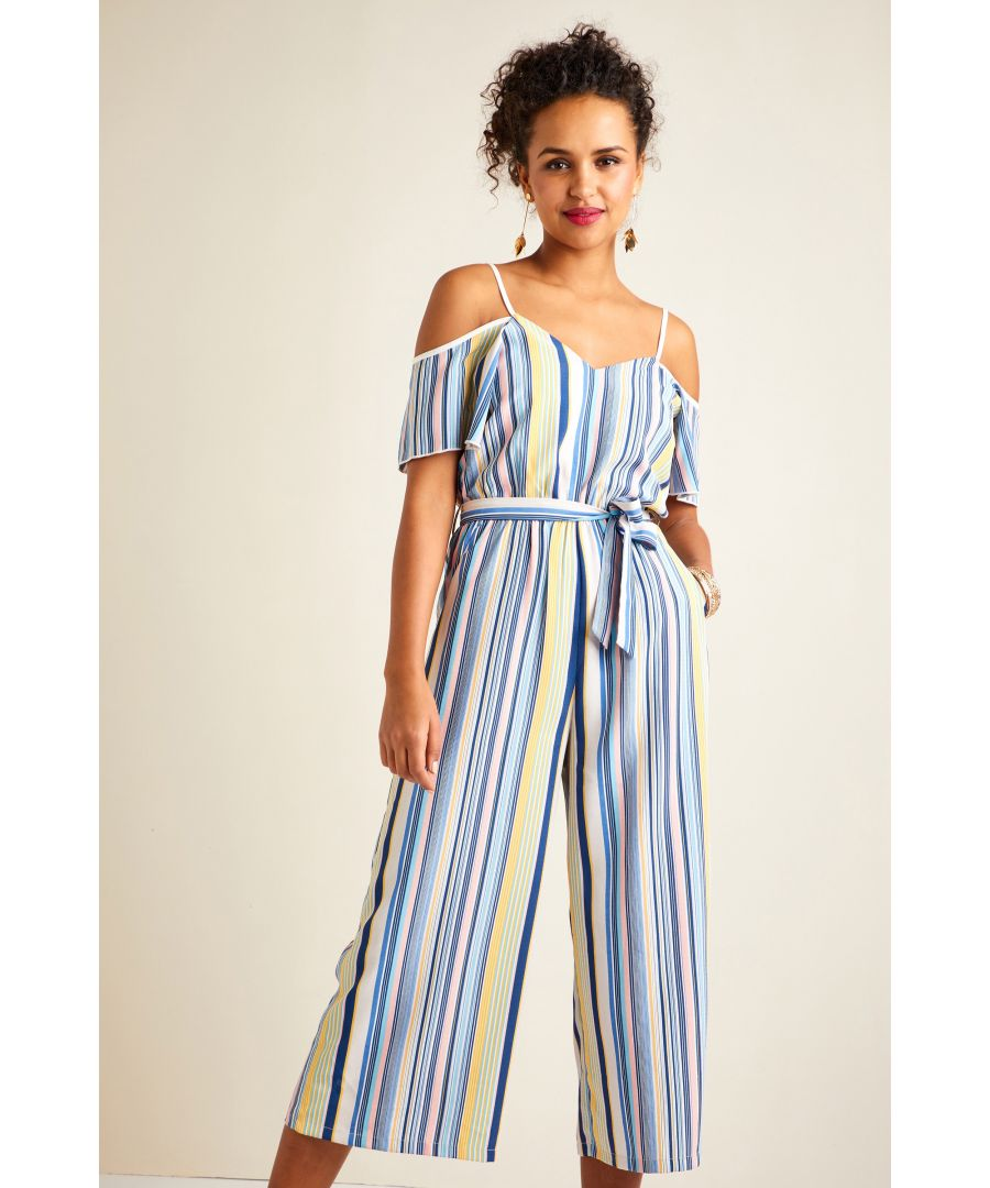 Image for Pastel Stripe Cold Shoulder Jumpsuit