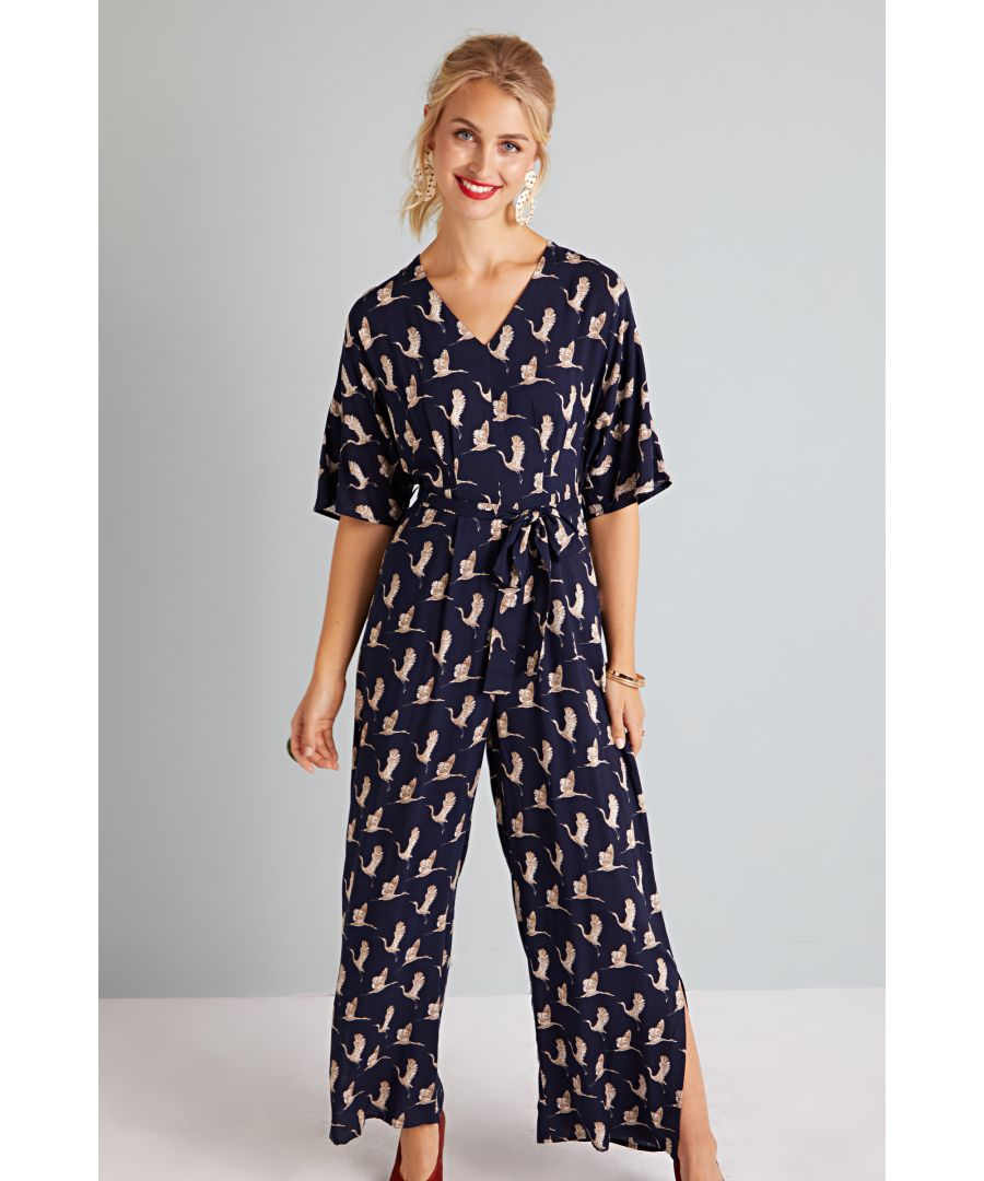 Image for Flying Crane Print Kimono Jumpsuit