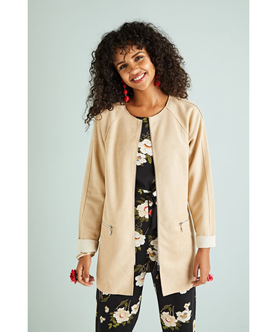 Image for Flower Print Suede Coat With Pockets