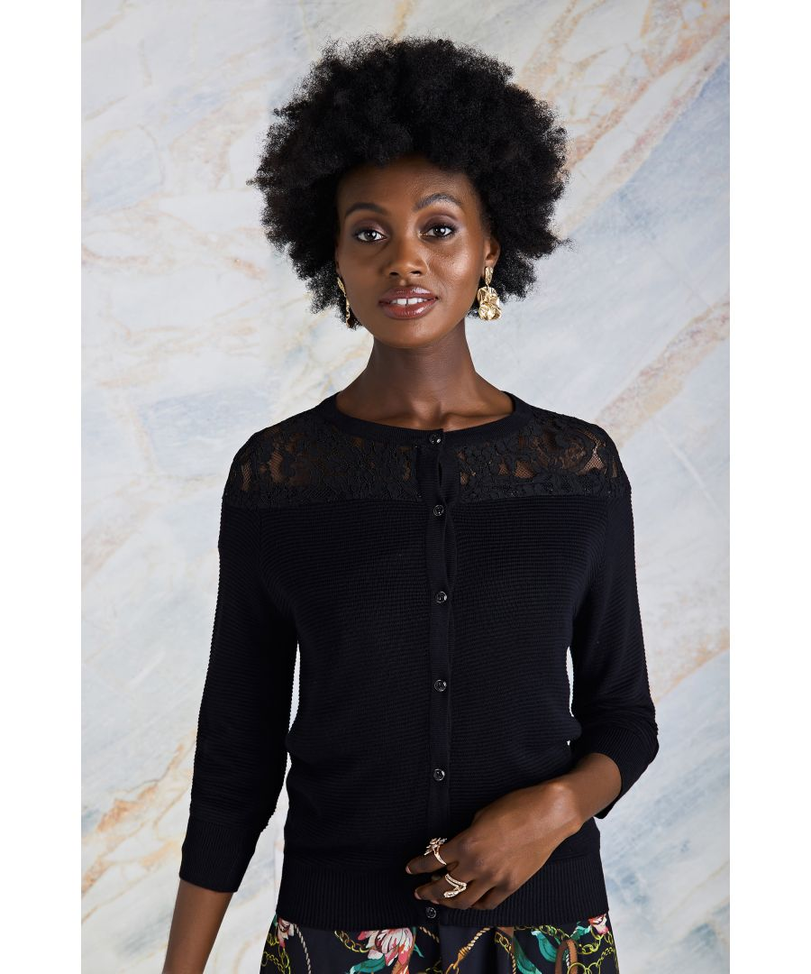 Image for Lace Panel Knit Jumper With Button Detai