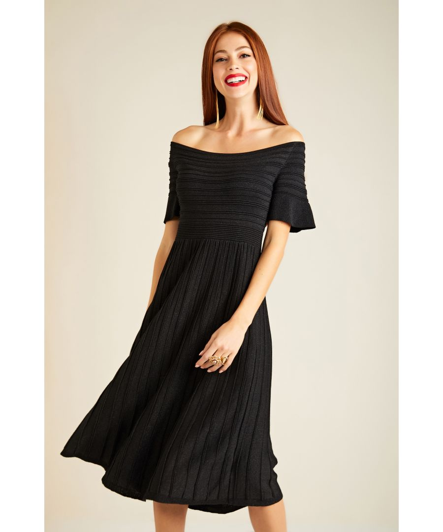 Image for Bardot Knit Dress With Pleated Skirt