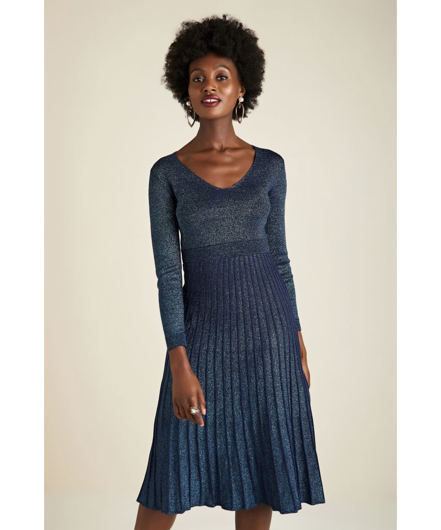 Image for Lurex Knit Dress With Pleated Skirt