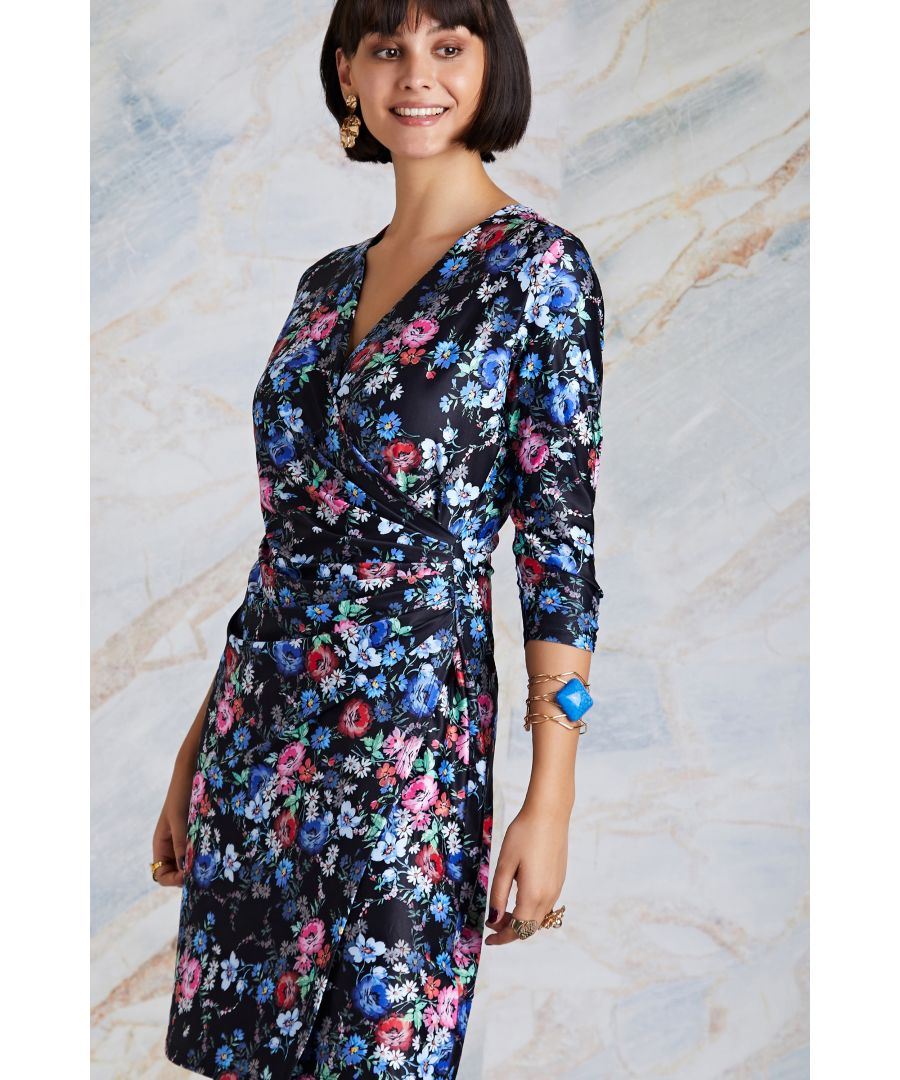Image for Black Midnight Daisy Print Wrap Dress