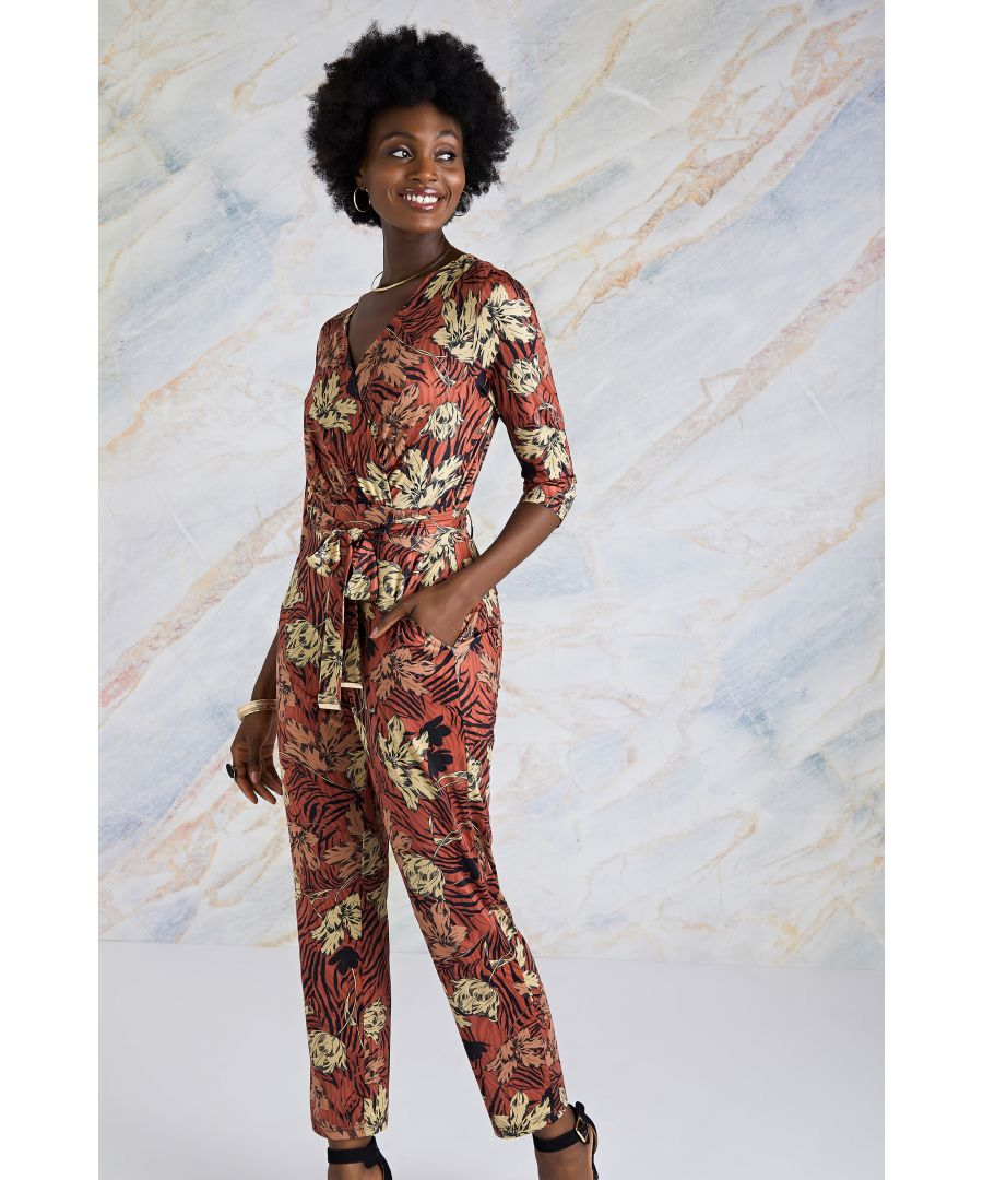 Image for Animal Stripe Print Jersey Jumpsuit