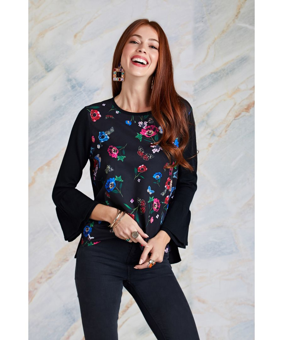 Image for Butterfly Print Woven Front Knit Jumper