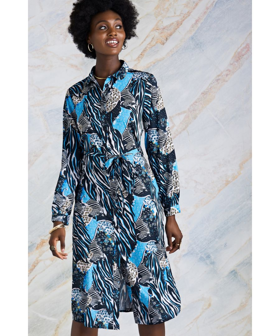 Image for Multi Hidden Zebra Print  Shirt Dress
