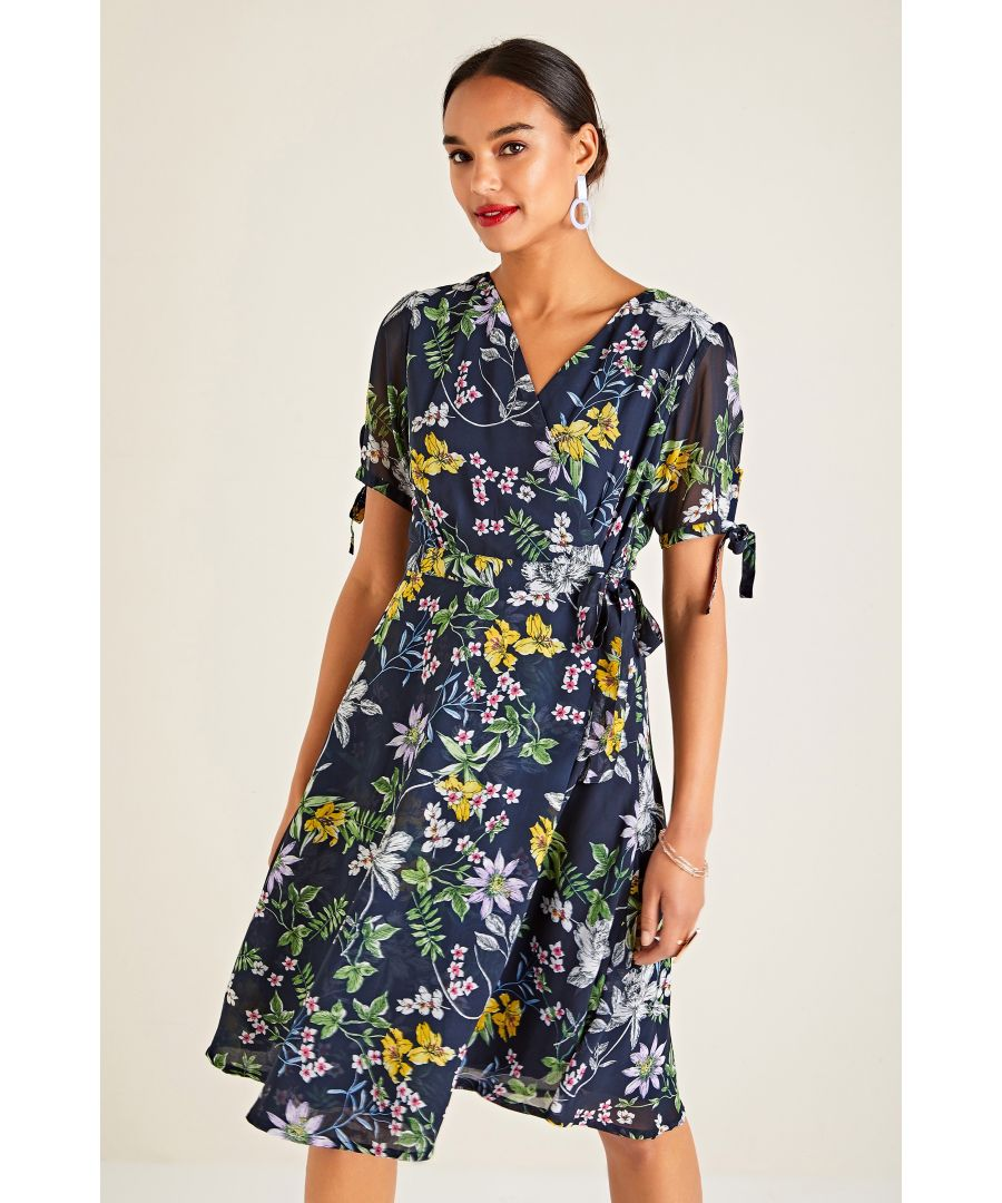 Image for Sketchy Summer Flower Wrap Dress
