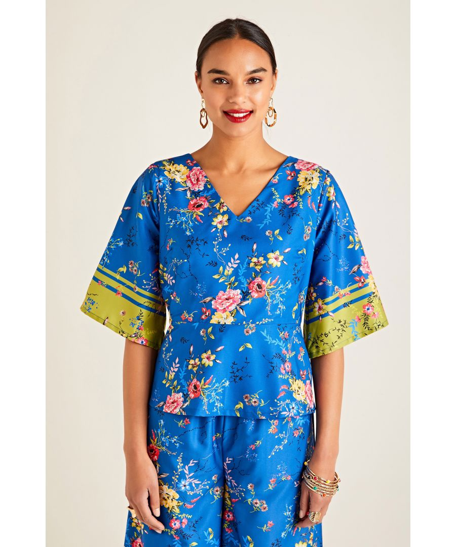 Image for Summer Floral Printed Top With Border Sl