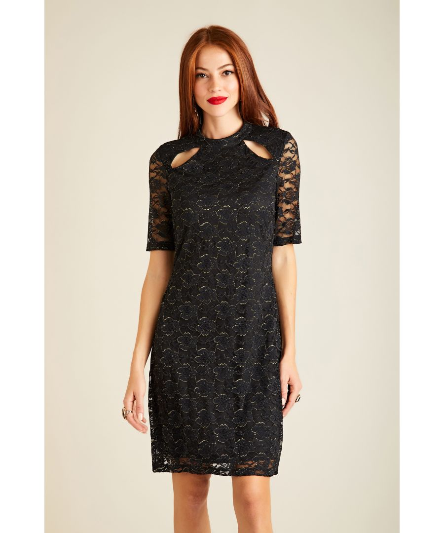 Image for Lace Bodycon With Slit Neck Detail