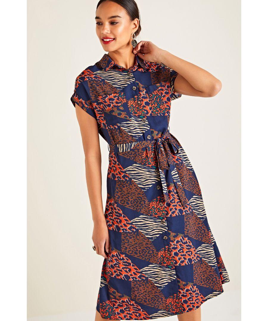 Image for Multi Patchwork Animal Print Shirt Dress