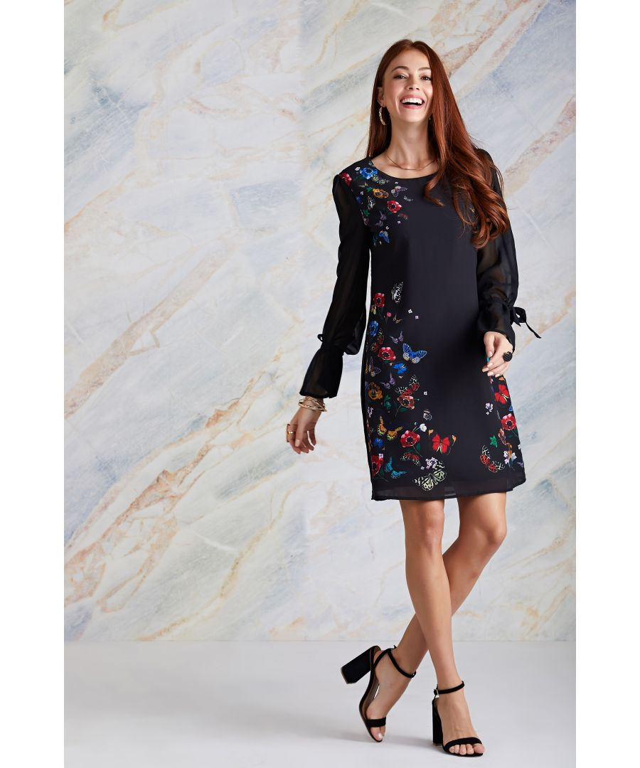 Image for Black Butterfly And Floral Print Tunic Dress