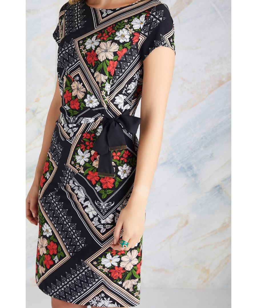 Image for Black Floral Scarf Print Dress