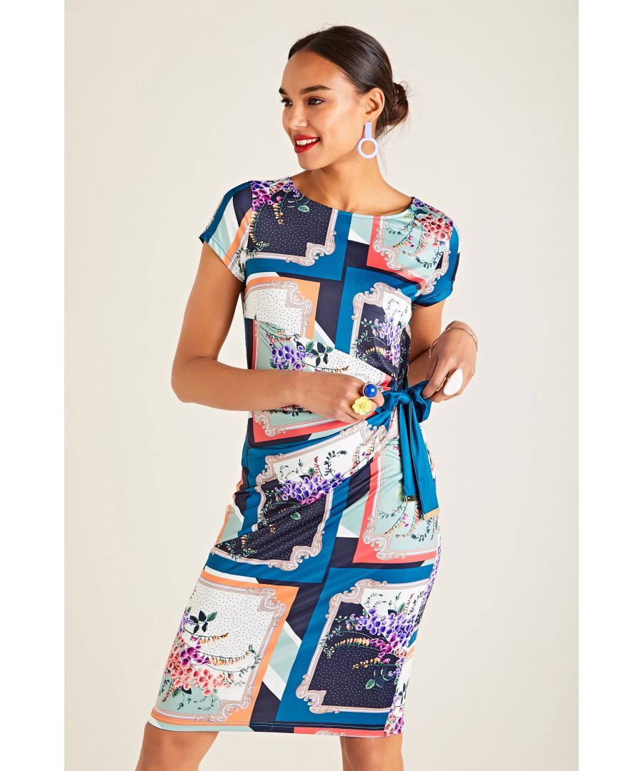 Image for Foxglove Scarf Print Jersey Dress With T