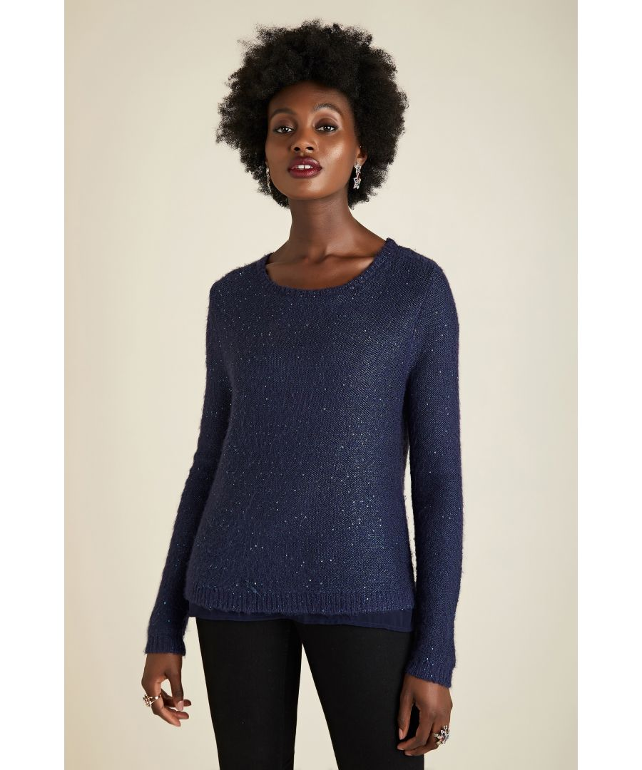 Image for Sequin Jumper With Woven Layer