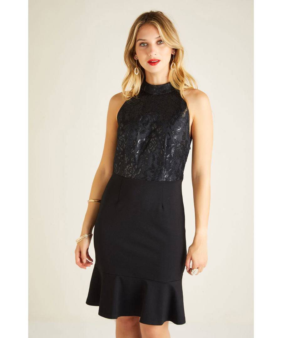 Image for Halter Neck Lace Dress With Pointe Skirt