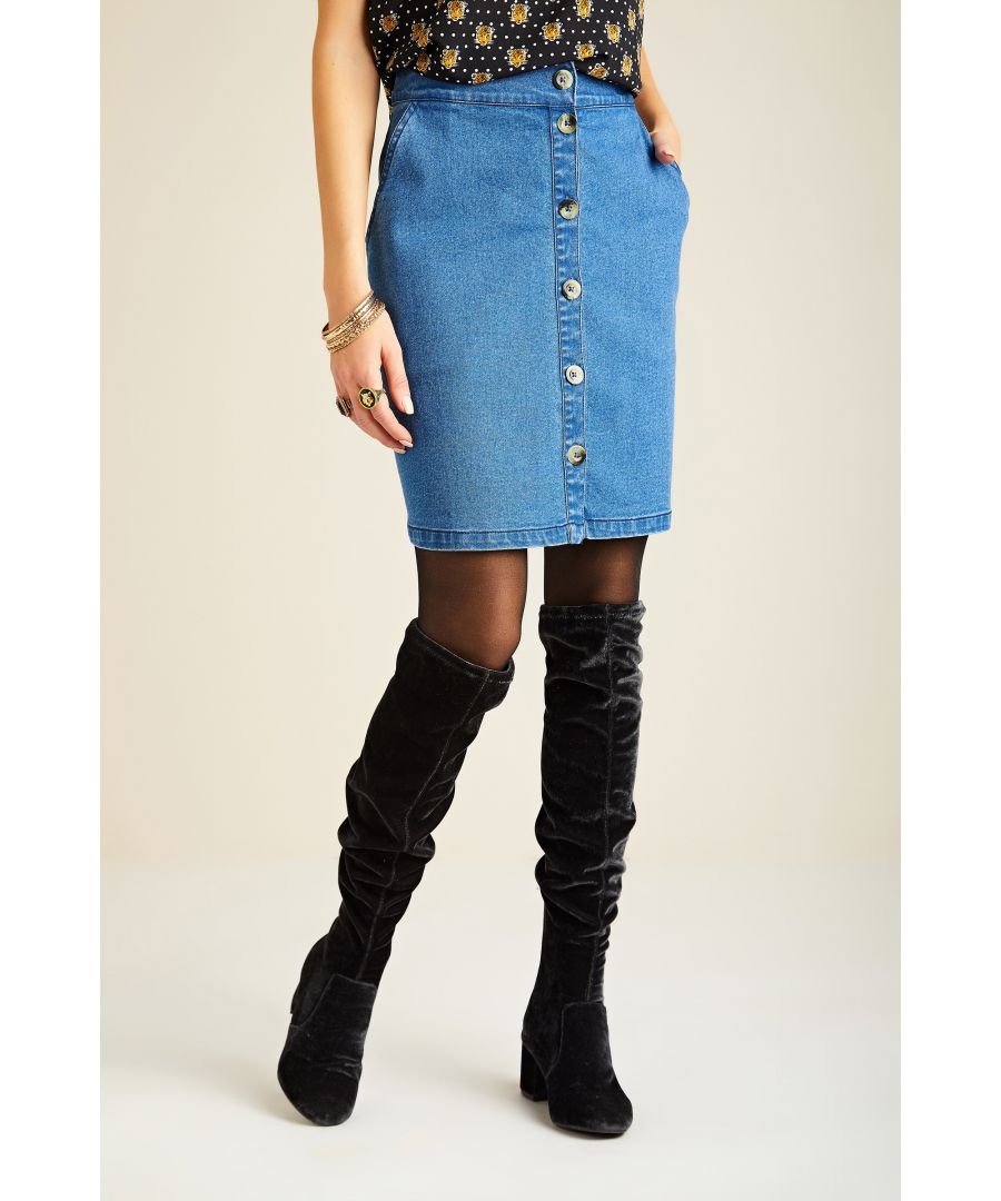 Image for A Line Denim Button Down Skirt