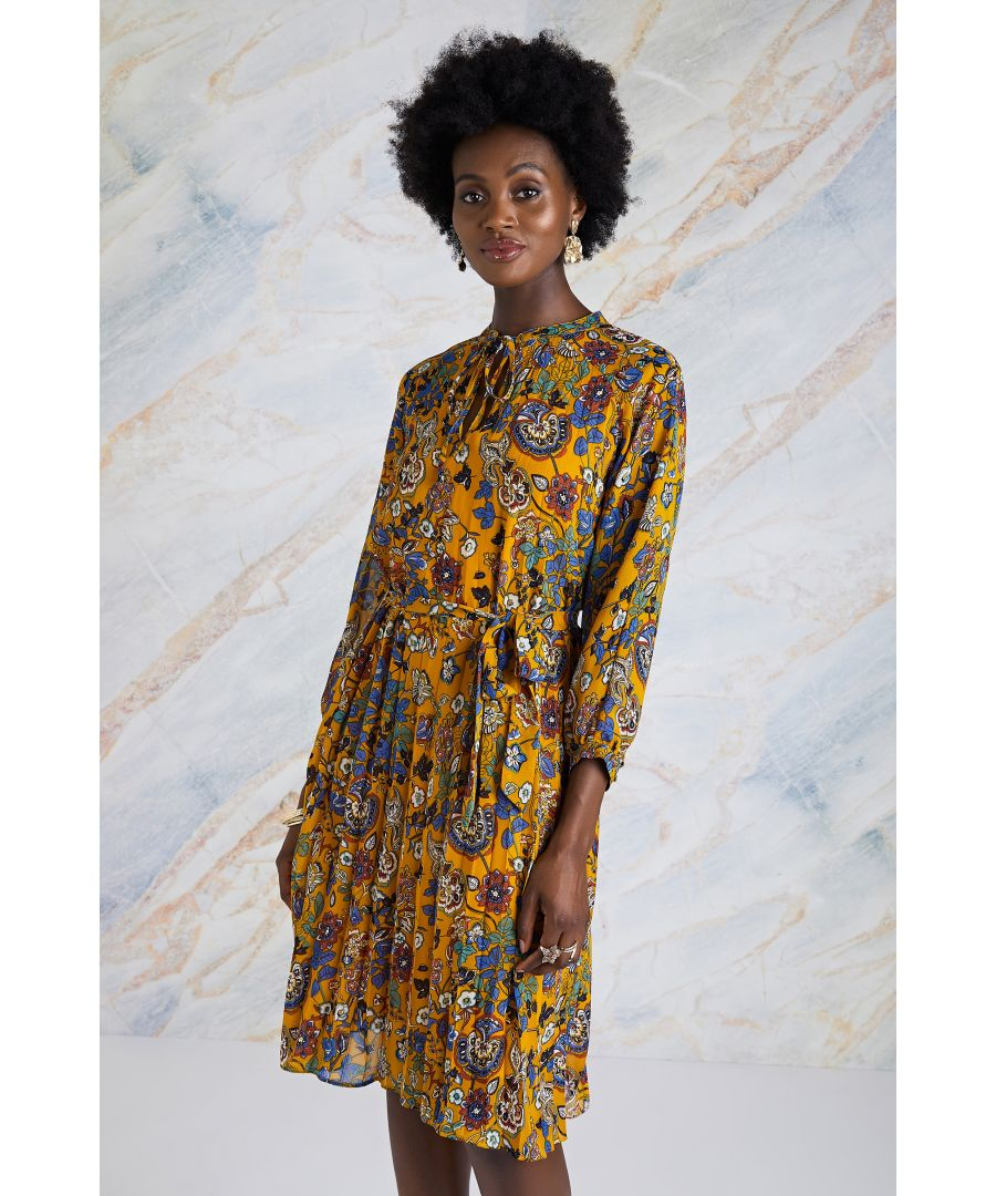 Image for Mustard Indian Chintz Floral Pleated Tunic Dress