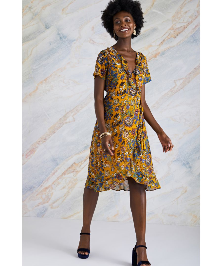 Image for Mustard Indian Chintz Floral Wrap Dress