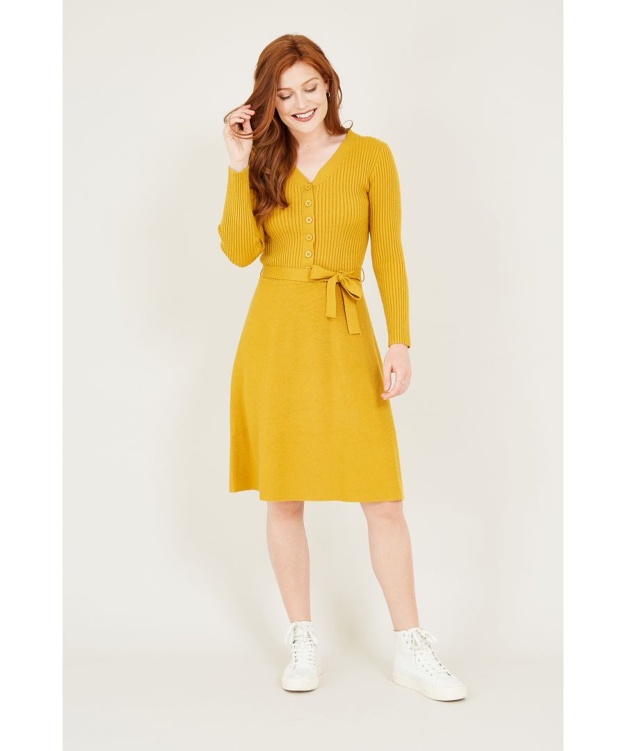 Image for Yumi Mustard Knitted Skater Dress With Button