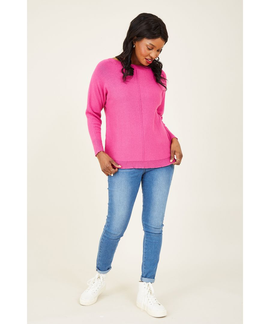 Image for Yumi Pink Relaxed Dropped Sleeve Jumper