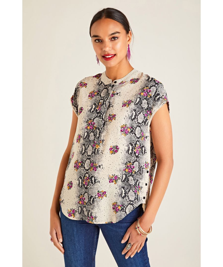 Image for Snakeskin And Flower Printed Top