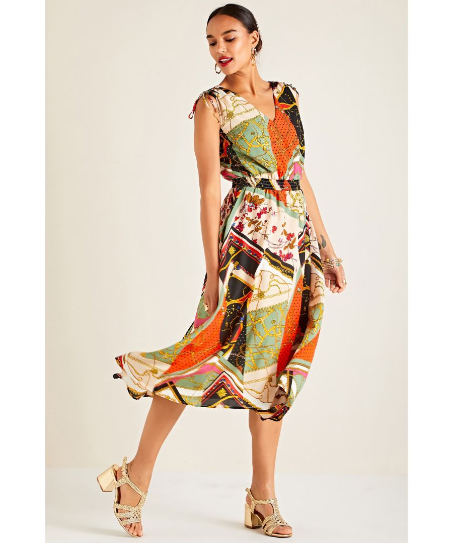 Image for Multi Patchwork Chain Print Dress