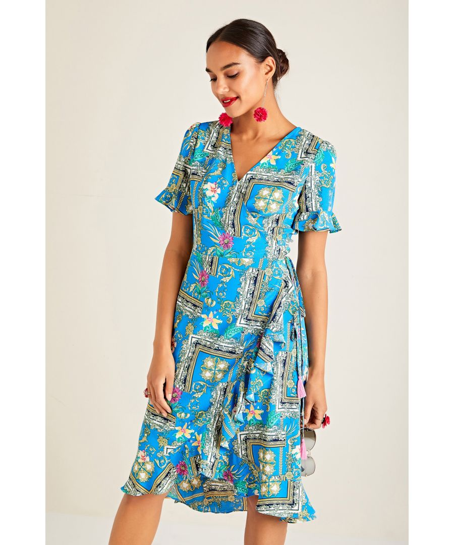 Image for Flower Scarf Print Wrap Dress With Frill
