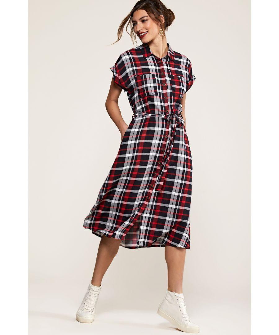 Image for Multi Check Print Shirt Dress