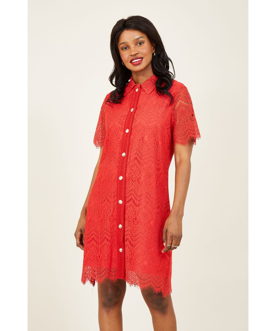 Image for Yumi Red Lace Shirt Dresss