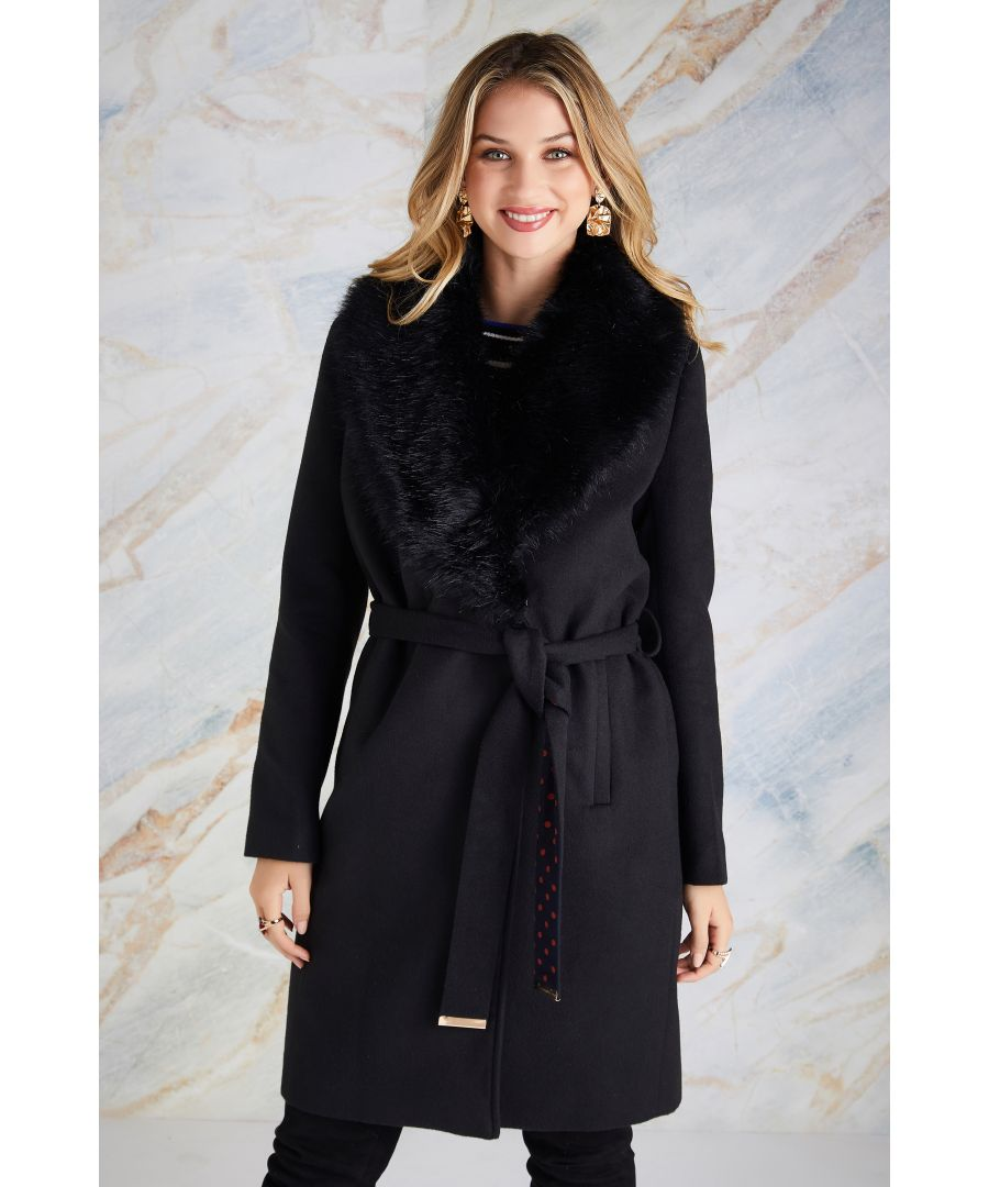Image for Fur Wrap Coat With Contrast Spot Lining
