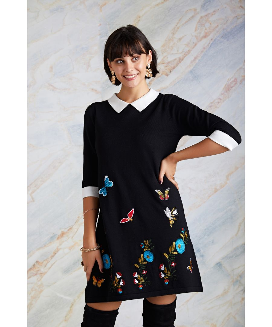 Image for Embroidered Butterfly Knit Tunic