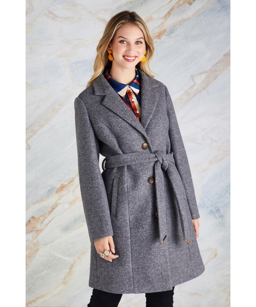 Image for Herringbone Pattern Button Through Coat