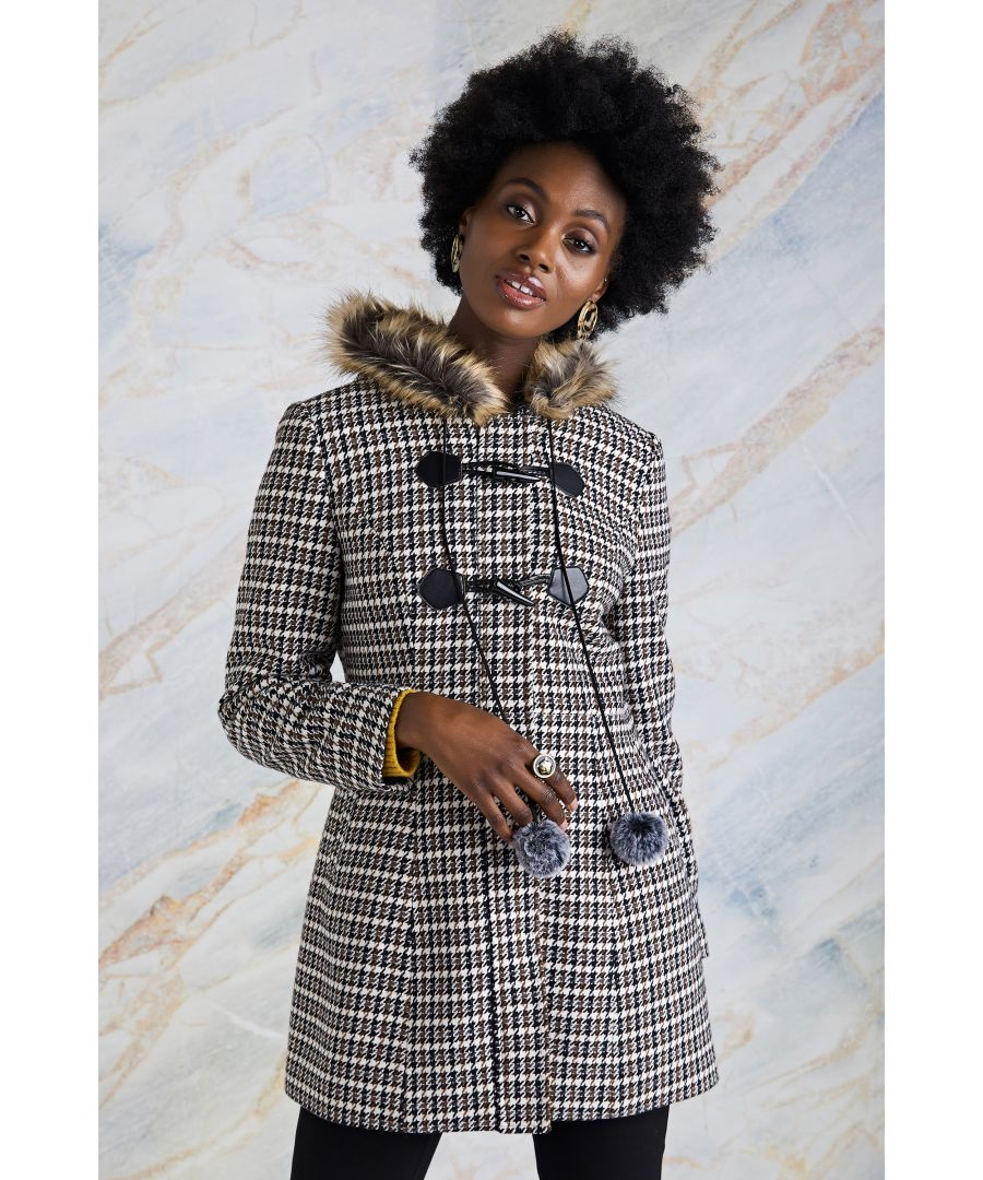 Image for Country Check Duffle Coat With Fur Hood