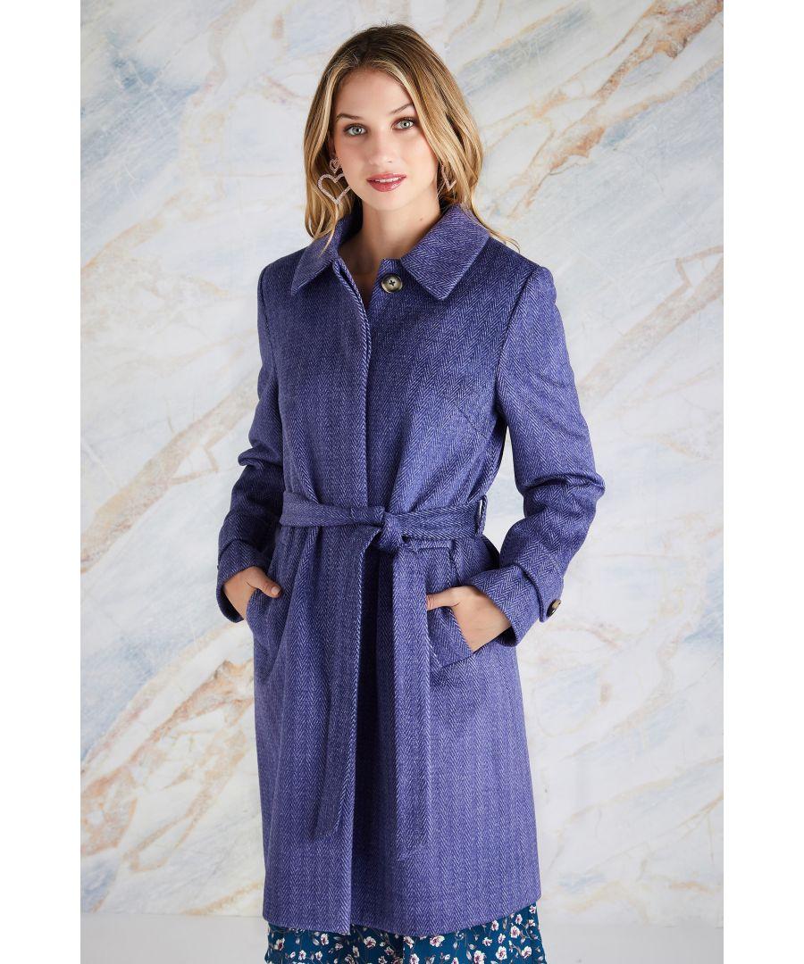 Image for Herringbone Design Tie Coat