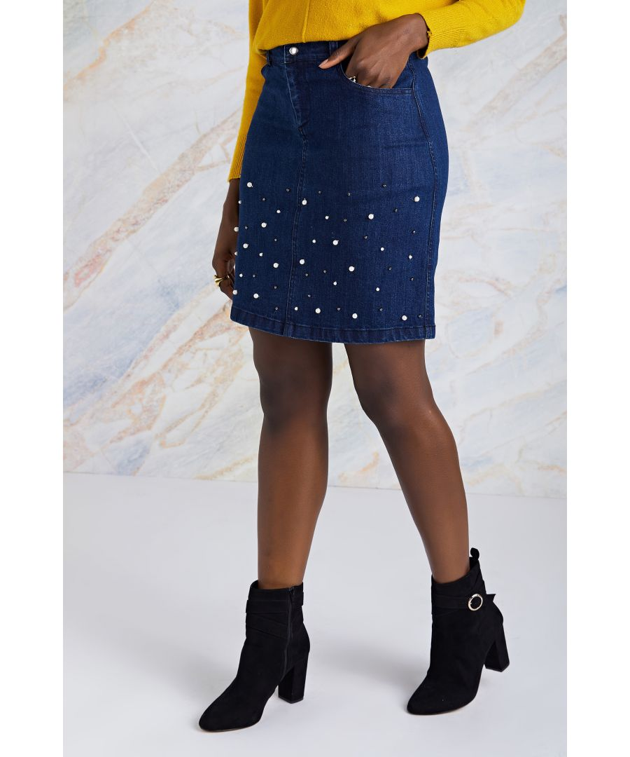 Image for Pearl Stud Denim Skirt With Pocket Detai