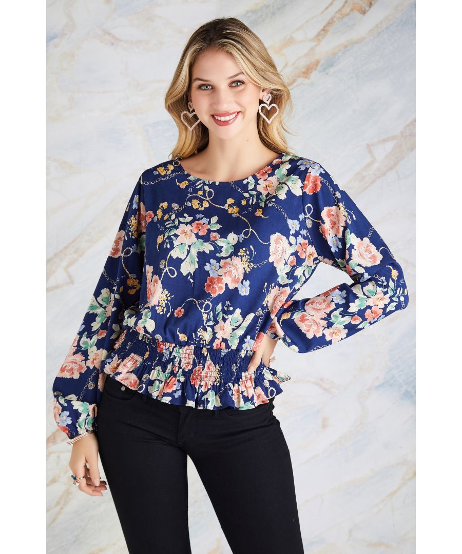 Image for Rose And Chain Print Ruched Top